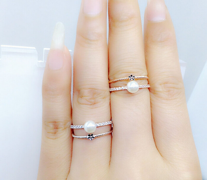 pearl engagement ring with wedding band - Pearl Wedding Ring Sets