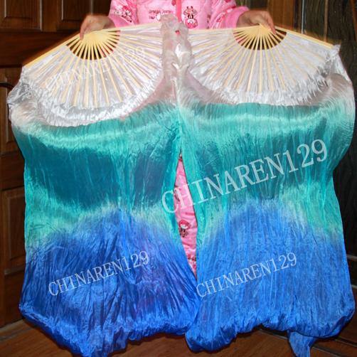 HAND MADE PAIRS 1.5M BELLY DANCE 100% SILK FAN VEILS WHITE -BLUE -DARK BLUE 36216(China (Mainland))