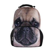 Fashion Pug Dog Leopard Printing School Girls Backpacks Children's School Bags Animal Women Travel Backpacks Hiking Backpacks(China (Mainland))