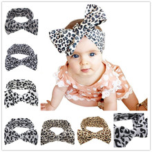 Baby Girls Kids Soft Stretch headband Big Bow Turban Bowknot Hairband Leopard Head Wrap Hair Band Accessories 1pc HB510(China (Mainland))