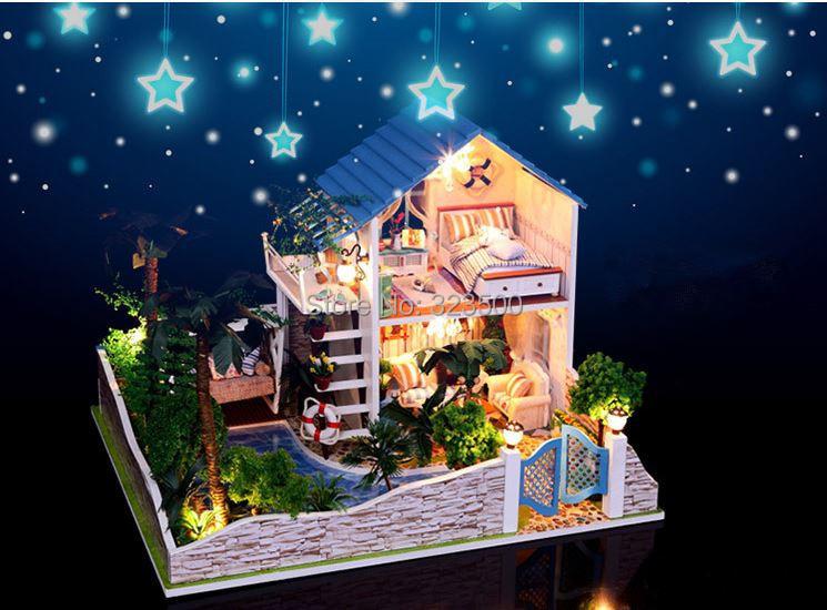 "2014 New Model Handmade Hobby Wooden DIY Dollhouse Miniature Doll House Furniture Light """"Romantic Star Villa"""