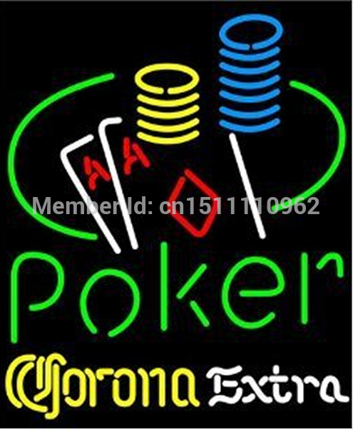 "CORONA EXTRA POKER ACE COIN TABLE HANDCRAFTED REAL NEON GLASS TUBE BEER BAR NEON LIGHT SIGN 24""x24""(China (Mainland))"