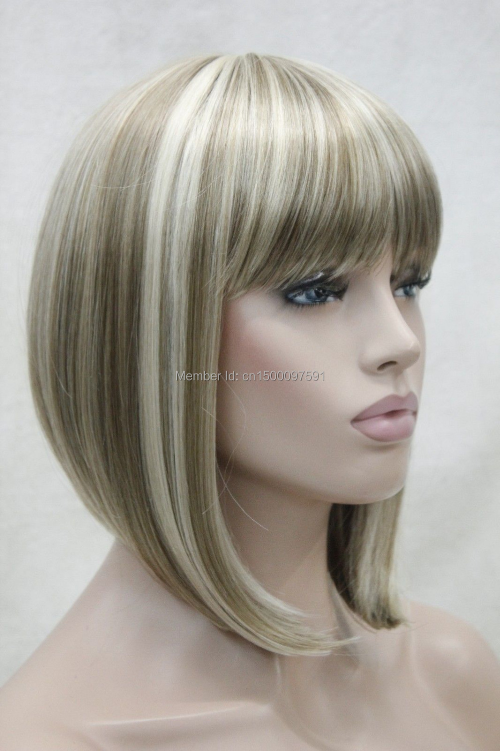 free Shipping*&amp;***New cute blonde mix short straight synthetic womens BOB wig<br><br>Aliexpress