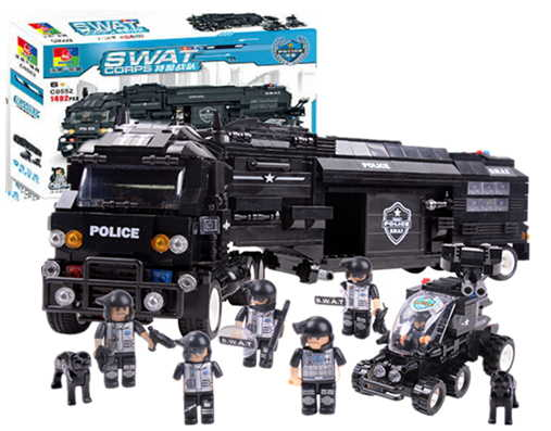 2016New 1492pcs WOMA c0552 SWAT Series Defenders Battle Command Vehicle Mobile Police Unit Building Block Assembly Toy Gift(China (Mainland))