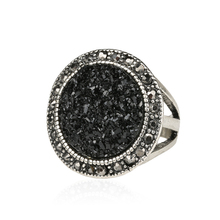 Black Broken Stone Accessories Ring New Bohemia Sterling Silver Jewelry 2014 Fashion Live To Ride For Women Ring