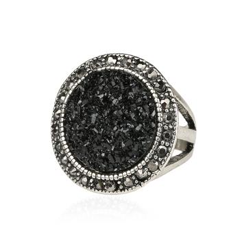Черный сломанной камень аксессуары кольца для женщины богема посеребрение ювелирные ...