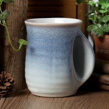 New Wholesale creative gifts home decoration Unique Fambe glaze shaped handmade handle ceramic coffee milk tea cup mug big(China (Mainland))