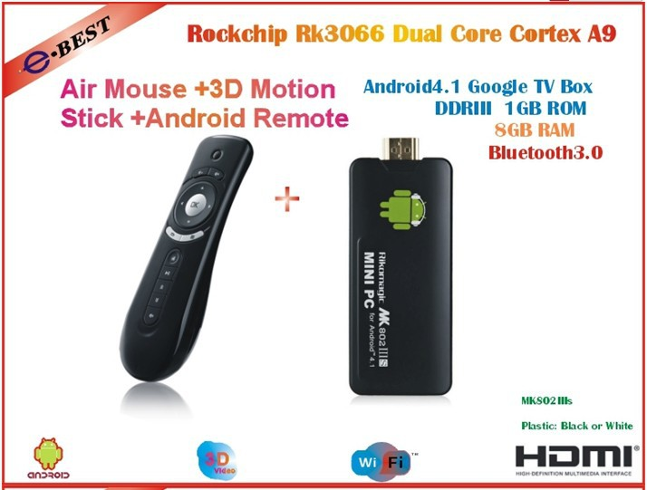 MK802 IIIS Mini PC Bluetooth Mobile Remote Control  RK3066 Cortex A9 1GB RAM 8G ROM HDMI+ Air mouse T2 free shipping
