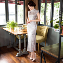 New Arrival Long Slim Women Cheongsam Dress Chinese Ladies Lace Qipao Novelty Sexy Flower Dress Size S M L XL XXL XXXL F080908