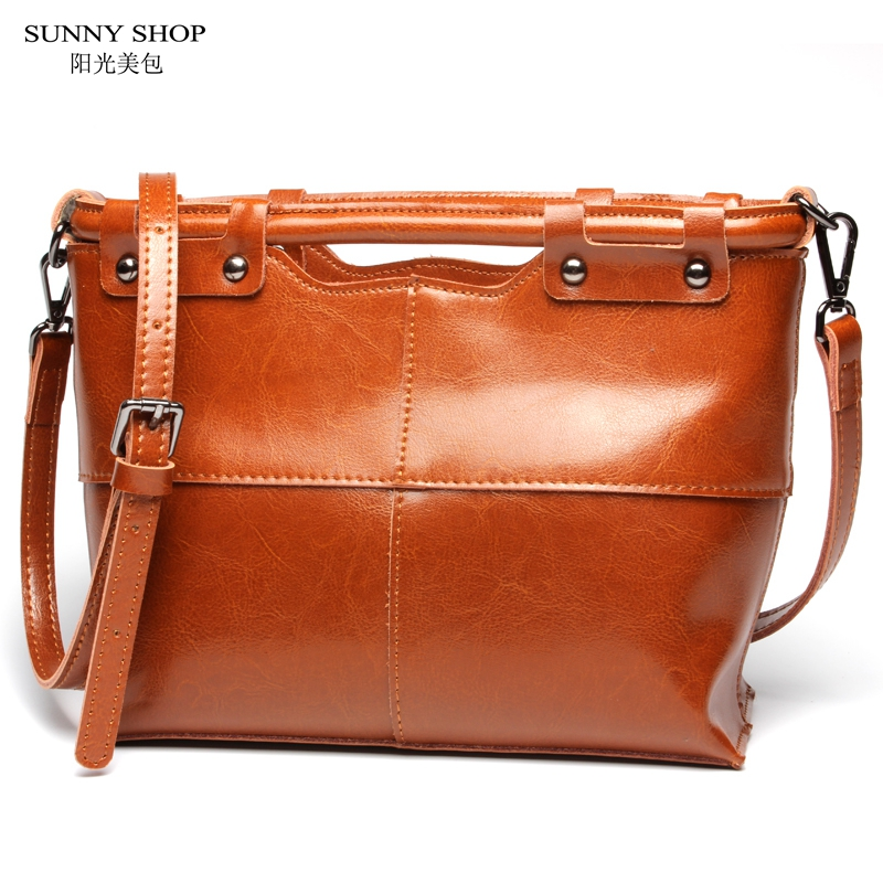 SUNNY SHOP Spring New Vintage Brown Real Leather Small Women Messenger Bag Cattle Leather Shoulder Bags For Girls(China (Mainland))