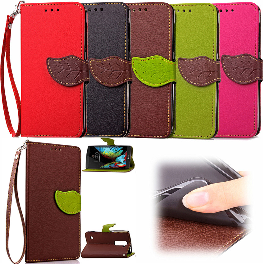 For LG K10 Case Fashion Leaf Design PU Leather Case For LG K10 Card Holder Wallet Stand Flip Phone Shell Cover(China (Mainland))