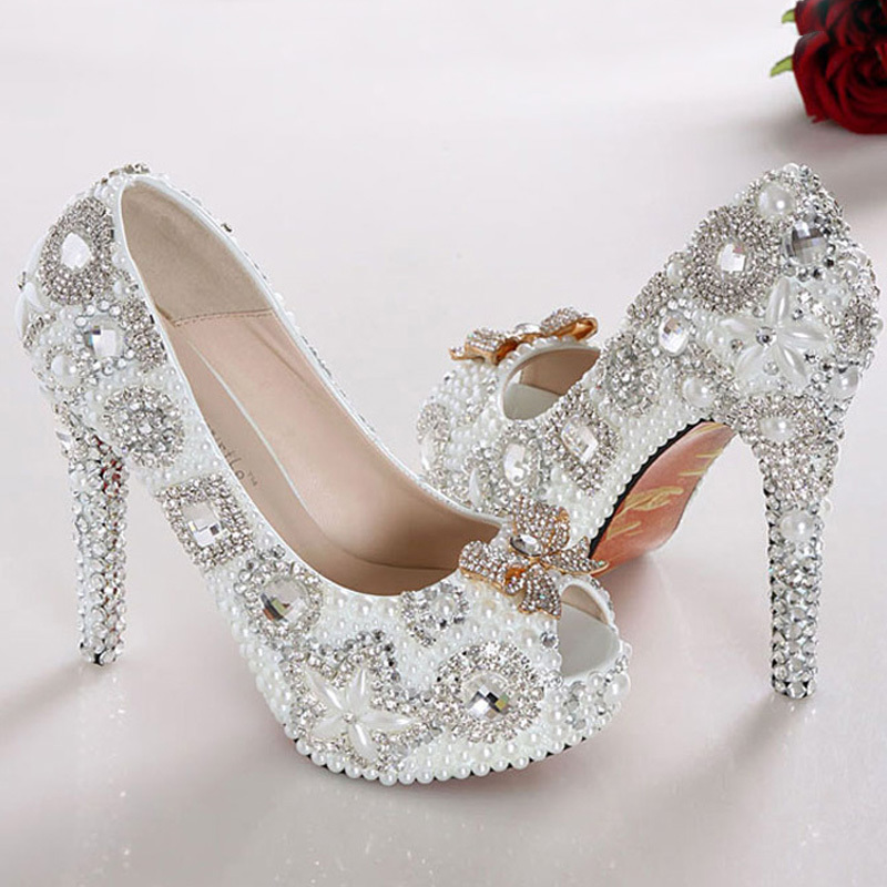 Peep Toe Wedding Shoes Gorgeous Pearl Bridal Dress Shoes White High Heel Lady Fashion Pump Party Club Shoes for wedding ceremony(China (Mainland))
