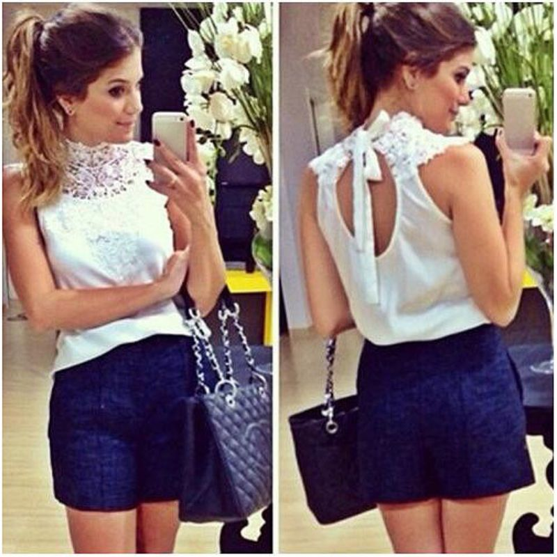 Women White Lace Blouse Sleeveless Backless Blusas Femininas Camisas Branca Feminino Feminine Shirts Festa JLU551(China (Mainland))