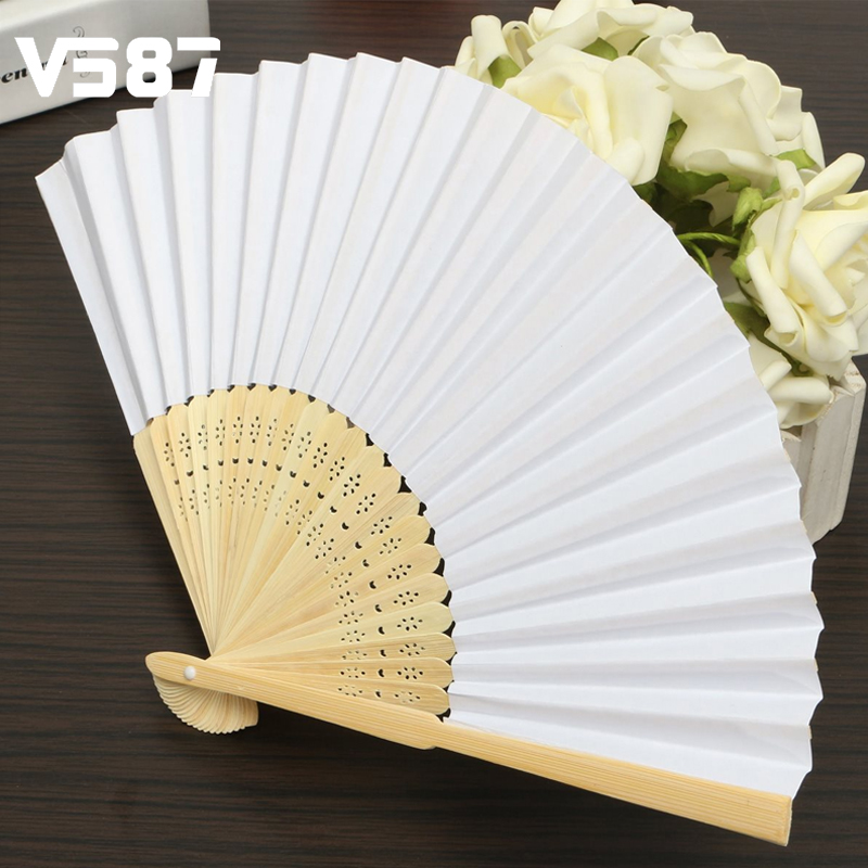 White Chinese Folding Bamboo Fan Retro Hand Paper Fans Blank Page For DIY Drawing Wedding Dancing Props(China (Mainland))
