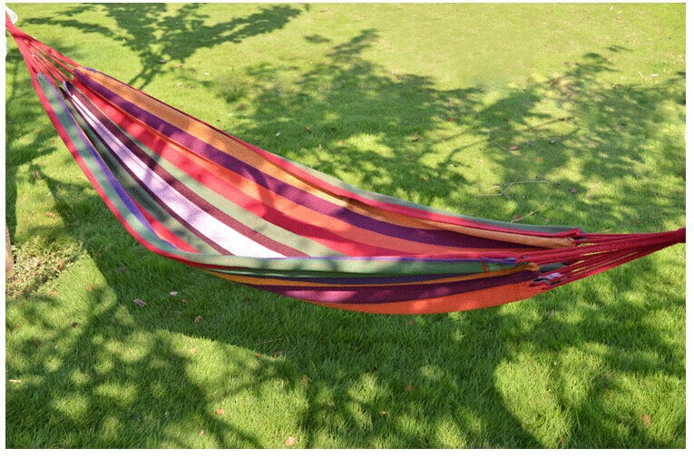 Outdoor Travel Hiking Camping Hammock Sleeping Bed Garden Portable Fabric Stripe Single Hammocks 200*80cm  -  Come On, Everybody, Sporting Store store
