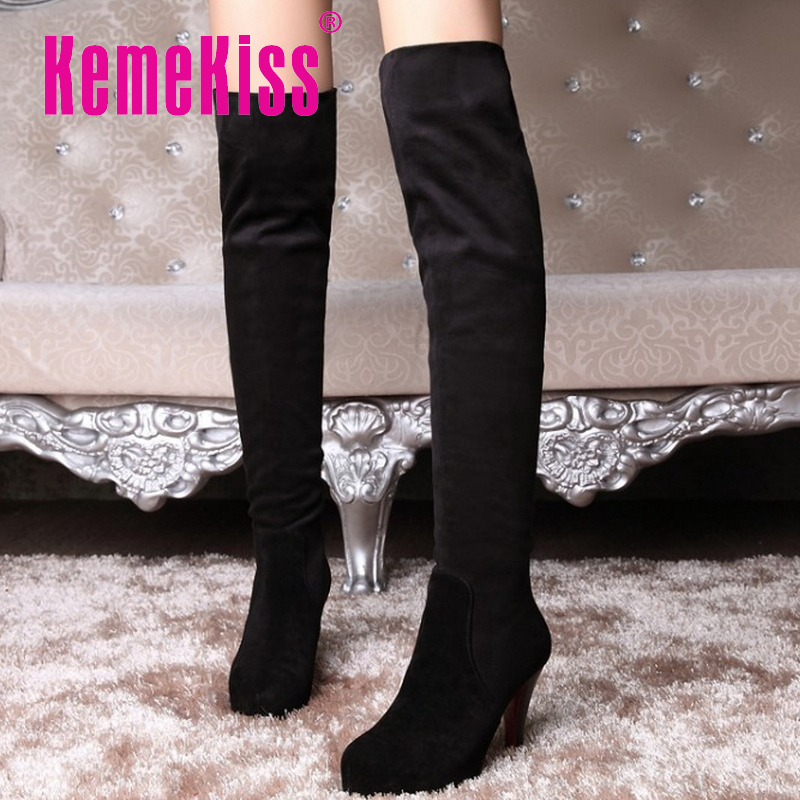 women real genuine leather red bottom high heels over knee boots sexy long boot winter warm bota footwear shoes R7532 size 34-39<br><br>Aliexpress