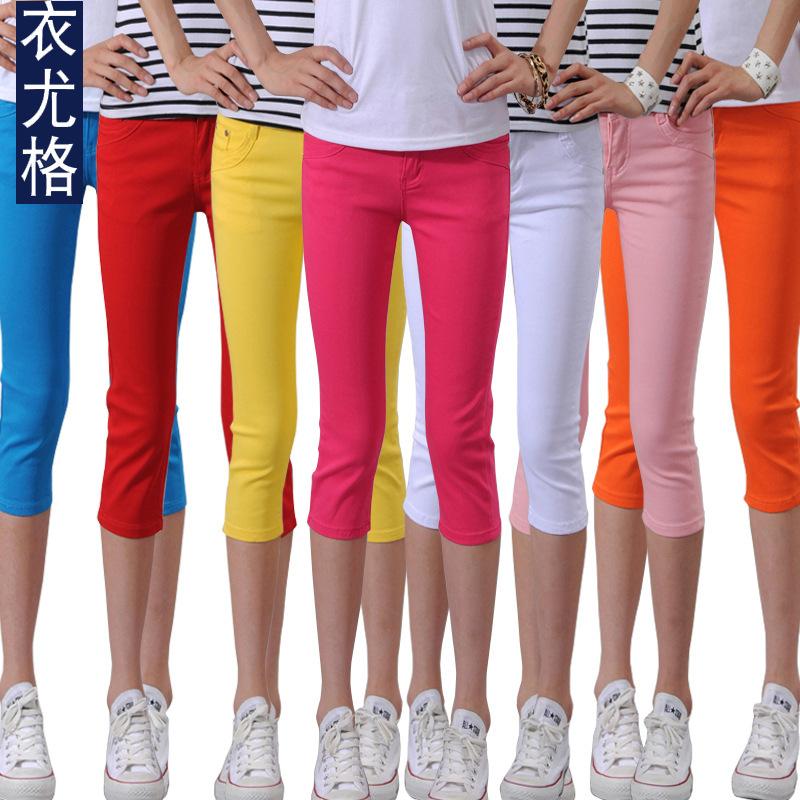 2014 New Fashion Summer Korean Slim Elastic Cotton Capris Short Pants Trousers Candy Color