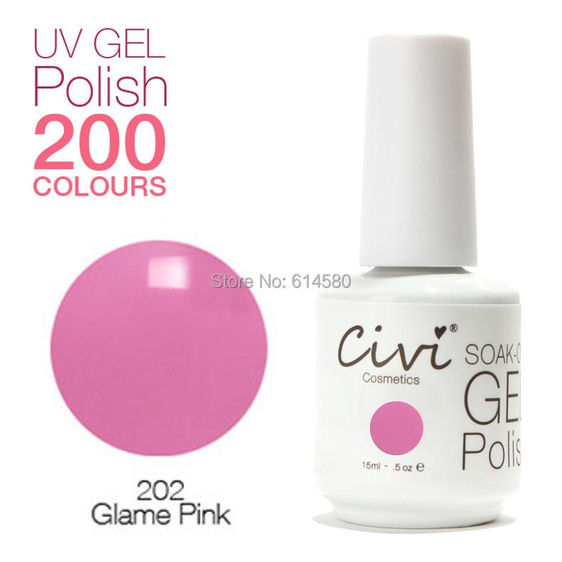 Civi 15ML #202 Glame Pink Color UV Gel Nail Polish Cosmetics Art 200 Colors Choose - Ecomcase Store store