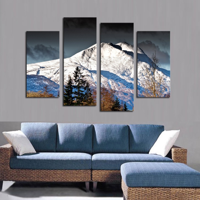 Buy 4 pcs canvas wall paintings snow for Wall artwork paintings