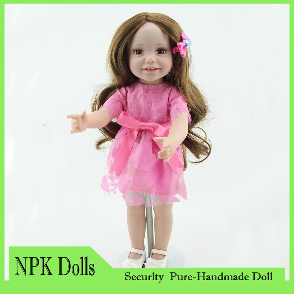 Fashion Full Vinyl Reborn American 18 Inchese Girl Doll Kids Toys Long Hair Smiling Girl Hobbies Doll Realistic Kids Toys 2015(China (Mainland))