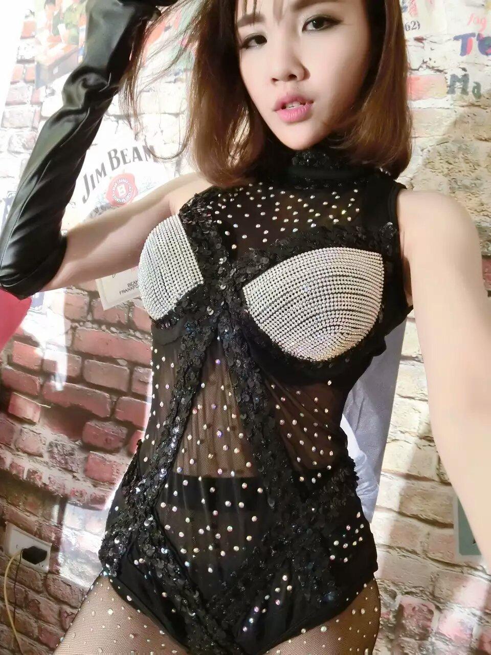 Women's Black Perspective Rhinestone Bodysuit Party Dress Costume Female Singer DJ Dance Stage Wear Prom Show One-piece Dresses(China (Mainland))