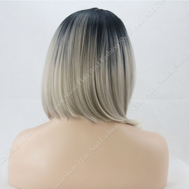 Ombre Wig Natural Black/Silver Grey Short Bob Grey Synthetic Lace Front Wig Glueless  Heat Resistant Hair Wigs For Women