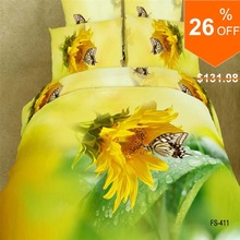 Hot sale Bright yellow flowers natural 100% cotton 3D printed 4pcs comforter/duvet/bedclothes/bed sheet set/B2275 Air shipping(China (Mainland))