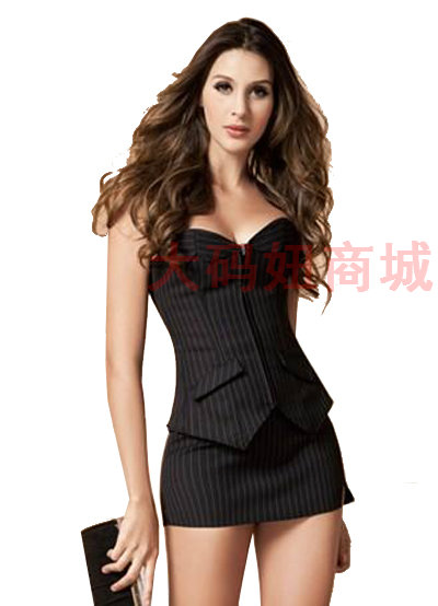 Cheap Sexy lingerie for woman strapless low-cut dress OL uniforms sexy costumes club wear clothing S/M/L/XL/XXL/3XL/4XL/5XL/6XL(China (Mainland))