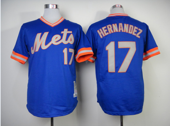 Men Baseball jerseys New York Mets # 17 Hernandez blue green Base weaver mix order ,embroidered logos - Liberty square store