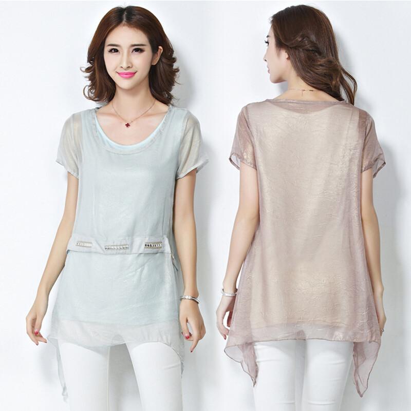 2015 Fashion Korean Short Sleeve Shirts Medium Style Casual Loose Chiffon Blouses Big Size Women