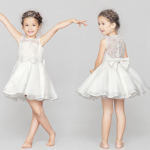Elegant Girl Dress White Flower Girl Dress Fashion White Lace Big Bow Party Tulle Flower Princess  Baby Girl Wedding Tutu Dress<br><br>Aliexpress