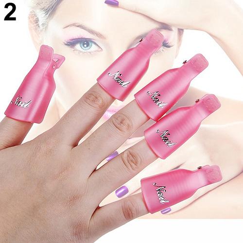 10Pcs  7 color Plastic Acrylic Nail Art Soak Off Clip Cap UV Gel Nail Polish Remover