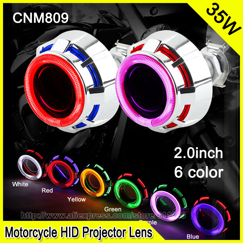 CNM808 2.0 Inch 35W Car & Motorcycle H1 H4 H7 Bi-xenon HID Projector Lens Motorcycle DRL Fog Headlight Double CCFL Angel Eyes(China (Mainland))