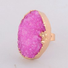 2015 Vintage Natural Stone Quartz Agate Brand Rings For Women Druzy Drusy Crystal Gem Stone Wedding