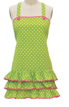 High Quality Princess Style Green Polka   Ruffled  Cotton  Kitchen cooking baking   Apron