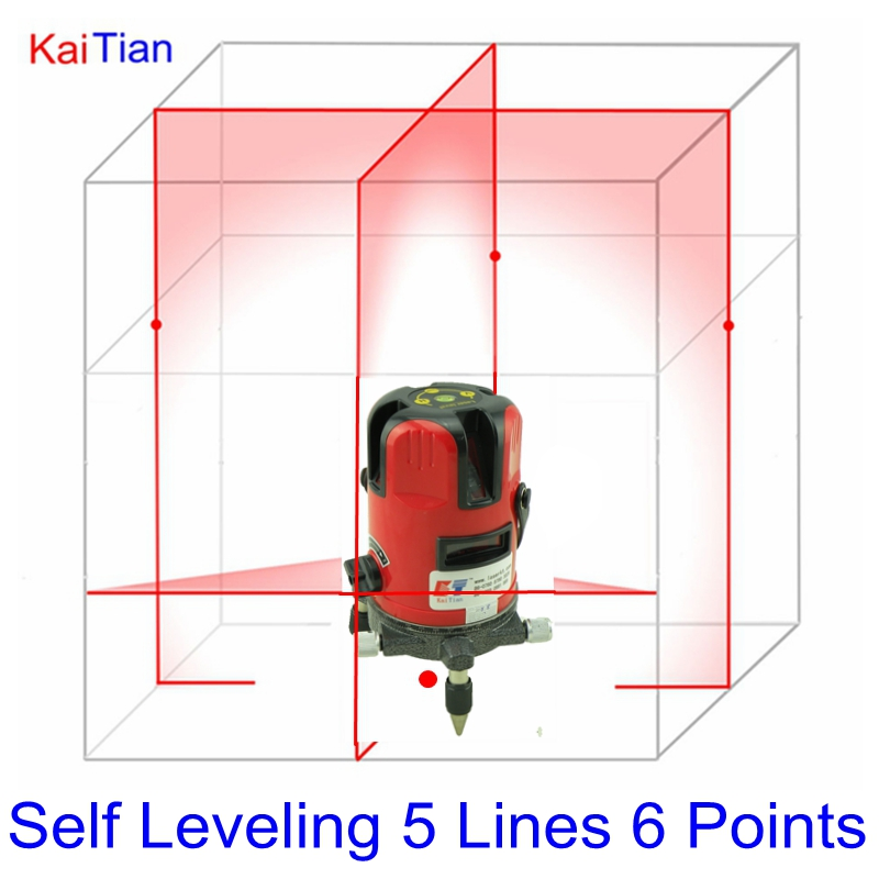 KaiTian 360 Rotary Laser Level Self Leveling 5 Lines Cross Levels with Outdoor and Tilt Slash Function EU 635nM Red Lazer Level