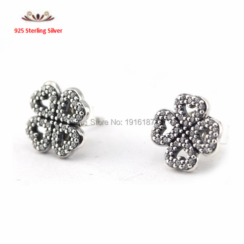 Newest 925 Sterling Silver Pave CZ Four Leaf Clover Stud Earrings For Women with AAA Cubic Zirconia Girl Valentines Day Gift<br><br>Aliexpress