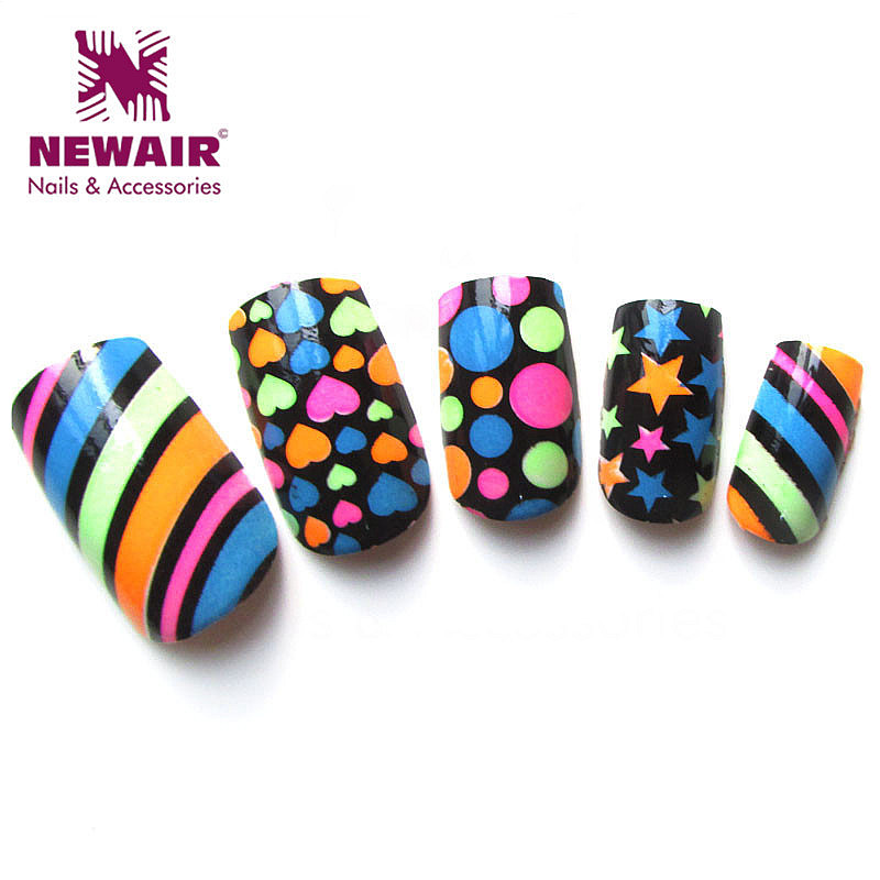 24pcs colorful pattern airbrush false nails art artificial fingernails shiny nail tips fashion full cover fake nails press ons(China (Mainland))