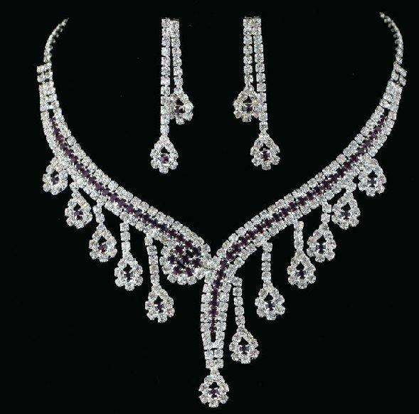 NewFree Shipping Charm Wedding Accessories Bridal Jewelry Set Fashion Bib Necklace Wedding Dresses Rhinestones Necklace+Earrings