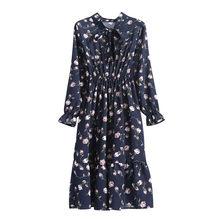 Korean Black Shirt Vestidos Office Polka Dot Vintage Autumn Dresses Women Winter Dress 2019 Midi Floral Long Sleeve Dress Female(China)