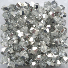 Free shipping Shining Silver 100pcs 4mm Bicone Austria Crystal Beads charm Glass Beads Loose Spacer Bead for DIY Jewelry Making