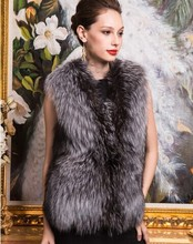 2015 Autumn and Winter warm New Silver Fox Fur Vest gilet outerwear womens fashion fur coat plus size S-3XL(China (Mainland))