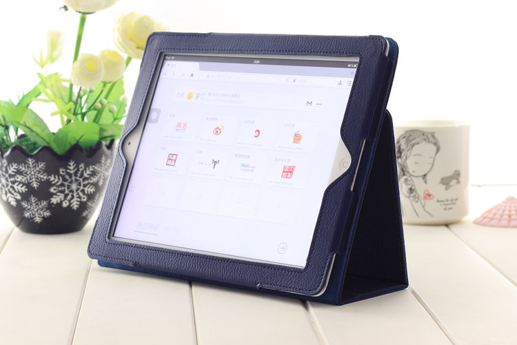 For Apple 2 3 4 Magnetic Auto Wake Up Sleep Flip Litchi Leather Case For New Pad 3 4Cover with Smart Stand Holder