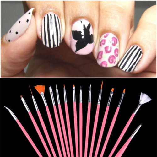 15PCS New UV Gel Acrylic Nail Art Draw Painting Brush Liner Pink Pen Set Tools(China (Mainland))