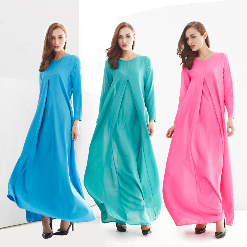 2015 long dress muslim indonesia clothing fashion long