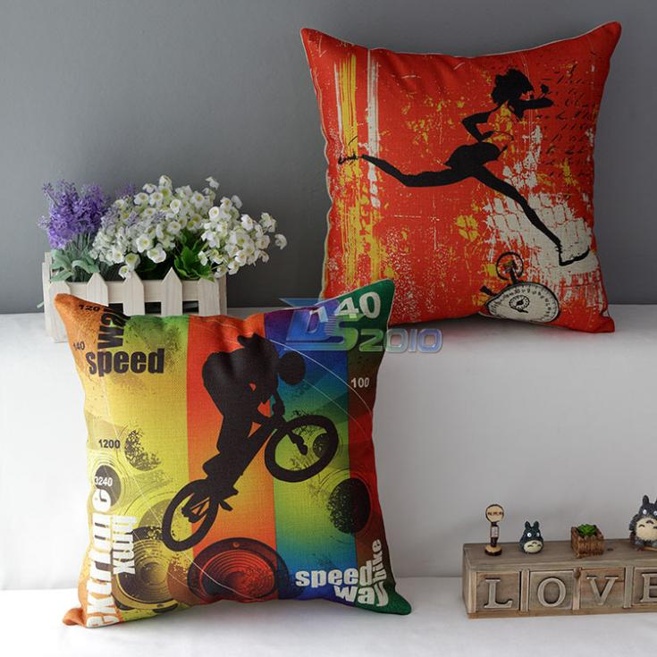 New Arrival 2015 Fashion Sports Running Bike Elements Linen Cotton Pillow Case Cushion Cover Sofa Decal(China (Mainland))