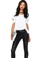 2015 European and American style  women's back cross strapless female women's blouse tops chiffon shirt  blusas plus size