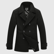 Men Fashion 2014 Casual Double Breasted Woolen Trench Coats Winter Men Wool Jackets And Pea Coats Black Grey New Arrival(China (Mainland))
