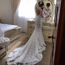 2017 New Fashion Lace Mermaid Wedding Dress Sexy Backless Robe De Mariage Vintage High Neck Long Sleeve Muslim Wedding Dresses(China (Mainland))