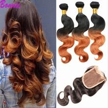 7A GradeOmbre Brazilian Virgin Hair Body Wave Bundles With lace Closure Brazilian human hair weave with closure body wave #1B 30